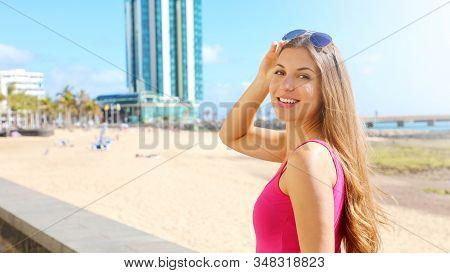 Travel Europe Summer Holiday Girl Enjoying Arrecife, Lanzarote, Canary Islands. Sun Getaway Woman Sm