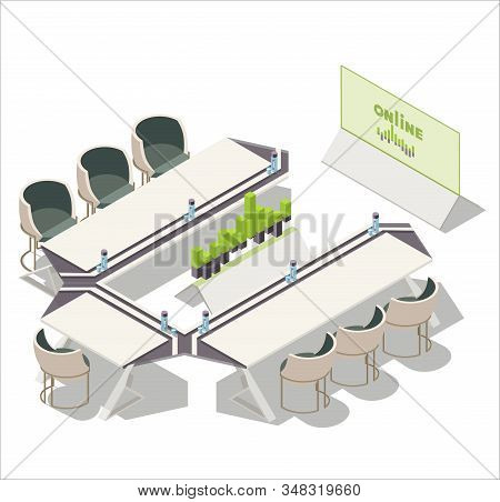 Vector Isometric Office, Meeting Room, Conference Room Interior. Tv Screen Showing Diagram Charts ,