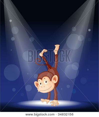 illustration of a monkey on stage