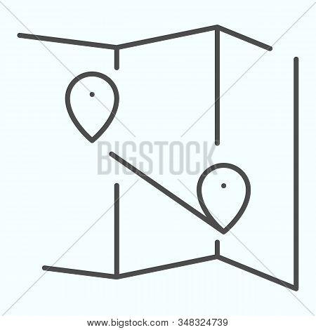 Map Thin Line Icon. Atlas With Two Pointers Vector Illustration Isolated On White. World Map With Ma