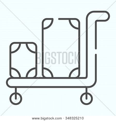 Luggage Trolley Thin Line Icon. Baggage On A Tray Vector Illustration Isolated On White. Trolley Bag