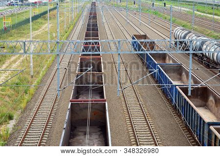 Railroad Tracks With Railroad Switch Two Paths Come Together