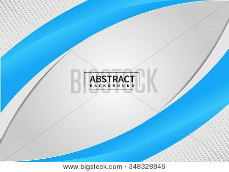 Abstract Blue And Gray Wave Or Curved Background On Gray Space Design Layout Template Or Corporate W