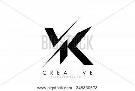 Vk V K Letter Logo Design With A Creative Cut. Creative Logo Design.