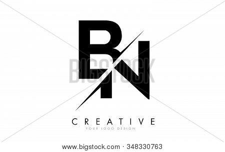 Bn B N Letter Logo Design With A Creative Cut. Creative Logo Design.