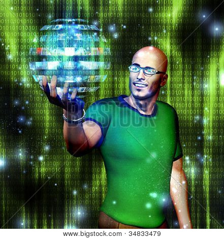 Man looks at many image sphere with binary code