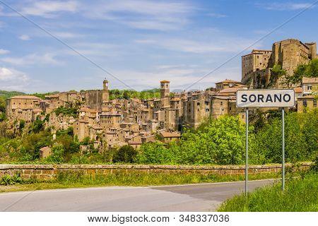 Stunning View Of Sorano, Tuff Mediaeval Village In Tuscany, Italy