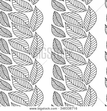 Stylized Black And White Leaves Seamless Pattern. The Vertical Stripes Of The Leaves. Hand Drawn Dec