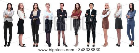 panoramic collage of a group of successful young business women.