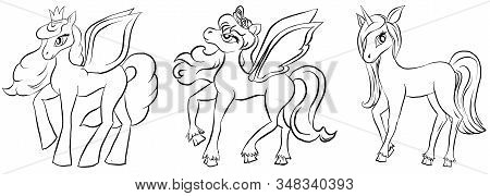 Vector Set Of Coloring Pony. Pegasus, Unicorn And Pony. Set For Coloring Book For Children. Pony Out