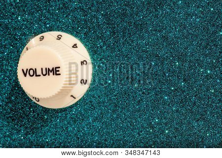 Glam Rock. Party Fun Glitz And Glamour Sound Volume Control. Blue Glitter Sparkle Finish On This Gui