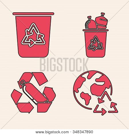 Set Planet Earth And A Recycling, Recycle Bin With Recycle Symbol, Recycle Bin With Recycle Symbol A