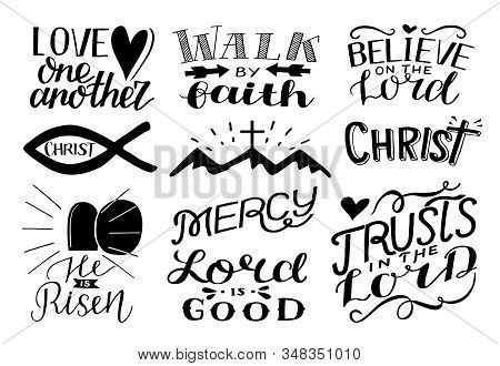 10 Hand Drawing Icon With Words Love One Another, Believe On The Lord, Christ, He Is Risen, Mercy.