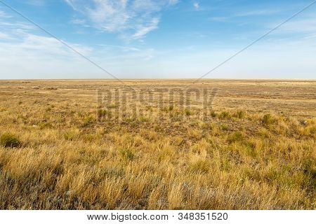 Landscape Of The Deserted Steppe. Kazakhstan. Steppe In Kazakhstan
