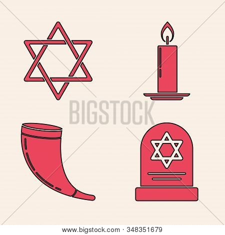 Set Tombstone With Star Of David, Star Of David, Burning Candle In Candlestick And Traditional Ram H