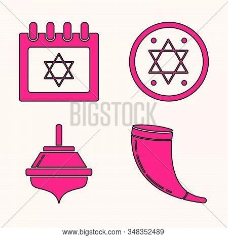 Set Traditional Ram Horn, Shofar, Jewish Calendar With Star Of David, Jewish Coin And Hanukkah Dreid