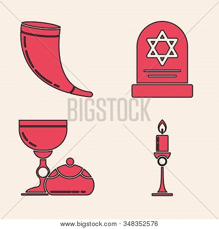 Set Burning Candle In Candlestick, Traditional Ram Horn, Shofar, Tombstone With Star Of David And Je