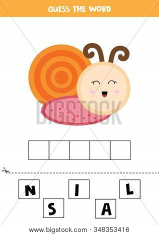 Guess The Word Snail. Elementary Crossword For Kids. Spelling For Children.