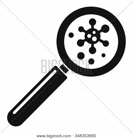 Virus Under Magnifier Icon. Simple Illustration Of Virus Under Magnifier Vector Icon For Web Design