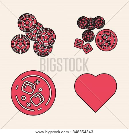 Set Playing Card With Heart Symbol, Casino Chips, Casino Chips, Game Dice And Glass Of Whiskey With