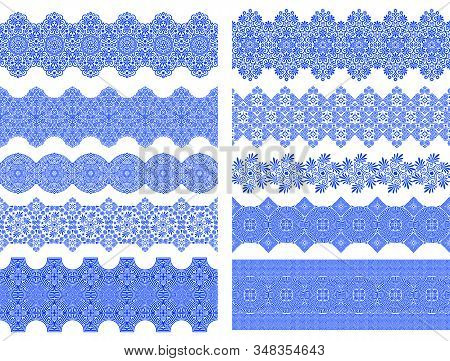 Vector Set Of Seamless Brushes With Traditional Greek Ornament In Blue And White. For Creating Borde