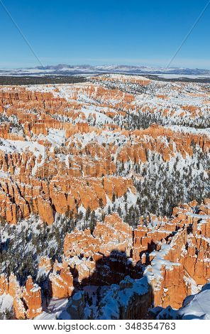 A Snow Covered Winter Landscape In Bryce Canyon National Park Utah