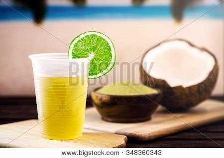Refreshing Drink, Carioca Mate Tea, Made In The City Of Rio De Janeiro. Yerba Mate Drink, With Cocon