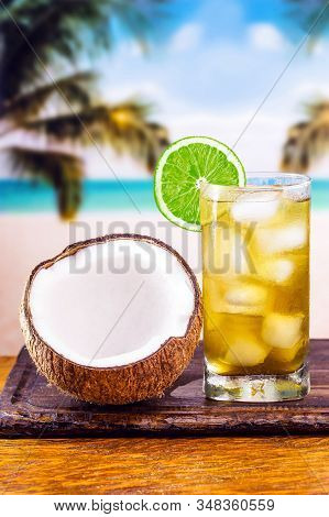 Cold Herb Drink With Lemon And Coconut Water. Known As Carioca Mate, Served On Brazilian Beaches Dur