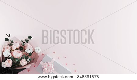 Beautiful Modern Bouquet Of Peonies With White Present Box With Pink Ribbon On Light Pink Background