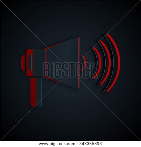Paper Cut Megaphone Icon Isolated On Black Background. Loud Speach Alert Concept. Bullhorn For Mouth