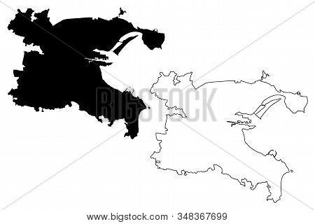 Dublin City (republic Of Ireland) Map Vector Illustration, Scribble Sketch City Of Dublin Map