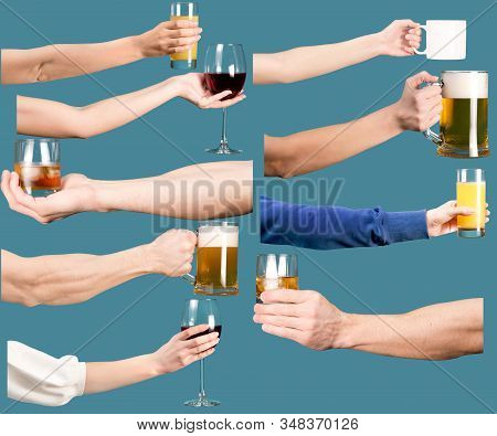 Set Of Female And Male Hands With Alcoholic And Non-alcoholic Drinks. Isolated On A Blue Background