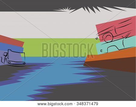 Wrecking Yard Background Vector Illustration Isolated Conception Art