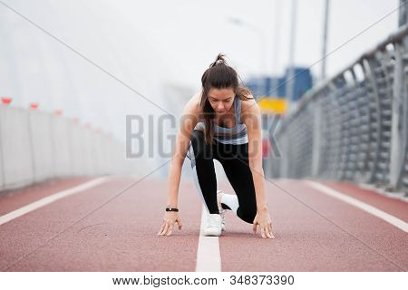 Fitness Sport Girl On Intensive Evening Run, Young Attractive Runner Jogging Outdoors, Female Jogger