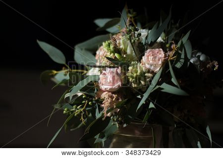 Beautiful Modern Bridal Bouquet Of Colorful Flowers. Classic Wedding Traditional Accessory.