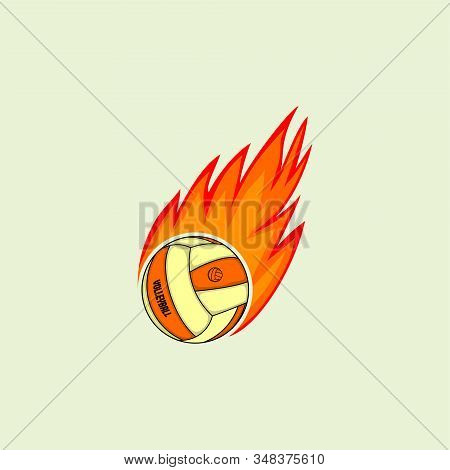 Flying Fire Volley Ball Vector Illustration For Template Design