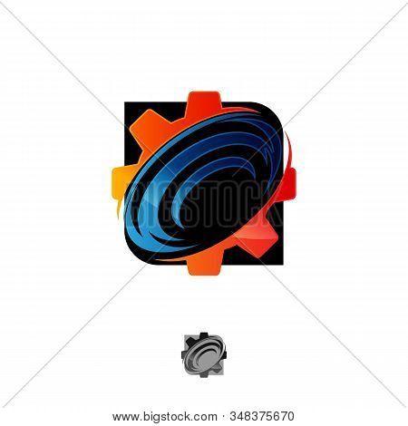 Best Creative, Fun And Colorful Gear With Orbit Rings. Technology Orbit Web Rings Symbol Concept Des