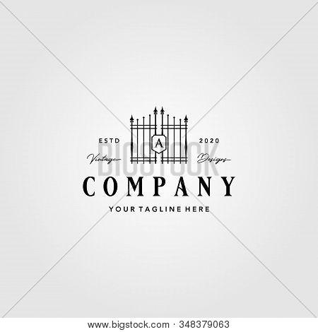 Building Gate Fence Logo Vintage Vector Illustration Design