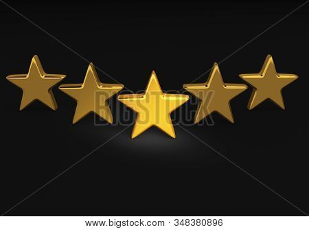 A 3d Illustration Of Five Bright, Gold Stars Stand Proudly In V Formation On A Dark Background. High