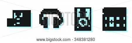 Set Line Stereo Speaker, Stereo Speaker, Headphones And Drum With Drum Sticks Icon. Vector