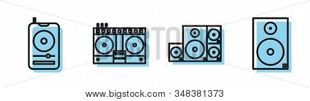 Set Line Stereo Speaker, Music Player, Dj Remote For Playing And Mixing Music And Stereo Speaker Ico