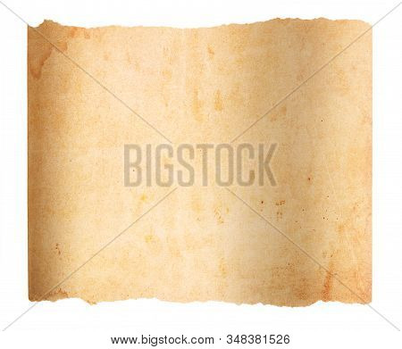 An Slightly Curled, Aged And Worn Paper With With Torn Edges. Blank With Room For Text Or Images. Is