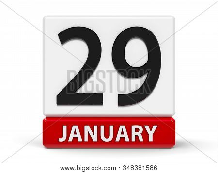 Red And White Calendar Icon From Cubes - The Twenty Ninth Of January - On A White Table, Three-dimen
