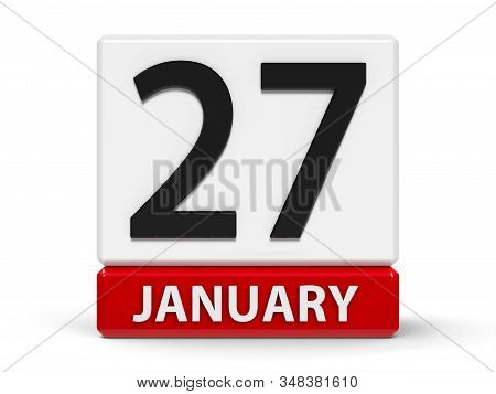 Red And White Calendar Icon From Cubes - The Twenty Seventh Of January - On A White Table - Internat