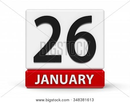 Red And White Calendar Icon From Cubes - The Twenty Sixth Of January - On A White Table - Internatio