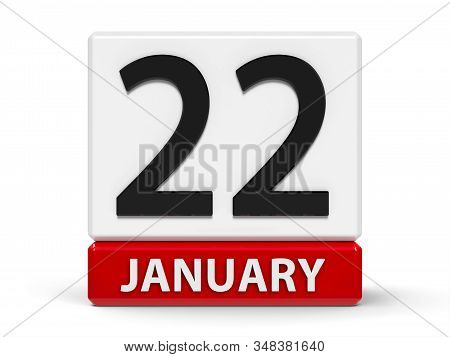 Red And White Calendar Icon From Cubes - The Twenty Second Of January - On A White Table, Three-dime