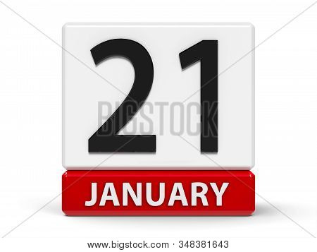 Red And White Calendar Icon From Cubes - The Twenty First Of January - On A White Table - Internatio