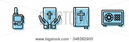 Set Line Holy Bible Book, Walkie Talkie, Oath On The Holy Bible And Safe Icon. Vector