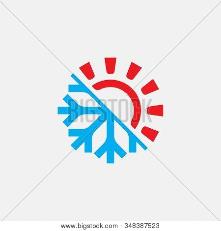 Hot And Cold Logo Design Template, Heating And Cooling Icon, Sun And Snowflake Icon Vector, Hot, Col