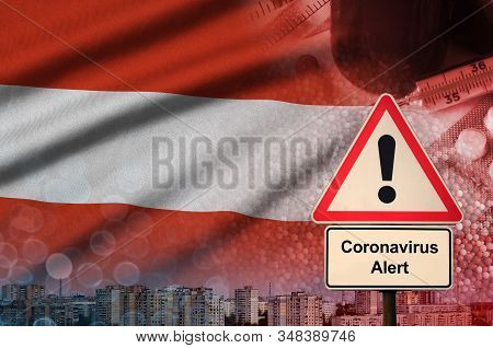 Austria Flag And Coronavirus 2019-ncov Alert Sign. Concept Of High Probability Of Novel Coronavirus